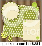 Clipart Of A Brown And Green Polka Dot Corrugated Cardboard Scrapbook Page With Flowers And Buttons Royalty Free Vector Illustration