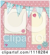 Pink And Blue Polka Dot Corrugated Cardboard Scrapbook Page With Uk Buntings