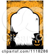 Grungy Orange Halloween Tombstone Frame Of A Witch Cat And Jackolantern With Copyspace