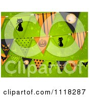 Clipart Of Halloween Party Bunting Flag Decorations Over Green Royalty Free Vector Illustration