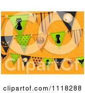Clipart Of Halloween Party Bunting Flag Decorations Over Orange Royalty Free Vector Illustration by elaineitalia