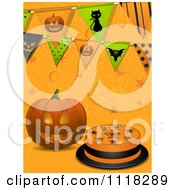 Clipart Of A Halloween Jackolantern Pumpkin With A Cake Stars And Party Buntings On Orange Royalty Free Vector Illustration