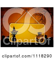 Clipart Of A Hanging Halloween Sign On Grungy Wood Panels With Graves And A Noose Royalty Free Vector Illustration