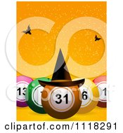 Clipart Of 3d Halloween Bingo Balls With A Witch Hat And Bats On Orange Royalty Free Vector Illustration