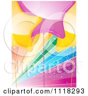 Clipart Of Yellow And Pink Star Party Balloons Over Sparkly Rainbow Rays Royalty Free Vector Illustration by elaineitalia