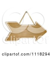 Clipart Of A Suspended Wooden Arrow Sign Royalty Free Vector Illustration