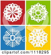 3d White Paper Snowflakes On Red Green Blue And Yellow