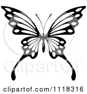 Clipart Of A Black And White Butterfly 8 Royalty Free Vector Illustration by Seamartini Graphics