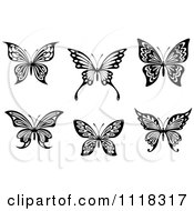 Clipart Of Black And White Butterflies 2 Royalty Free Vector Illustration by Vector Tradition SM