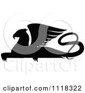 Clipart Of A Black Silhouetted Resting Griffin 1 Royalty Free Vector Illustration
