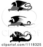 Clipart Of Black Silhouetted Resting Griffins Royalty Free Vector Illustration
