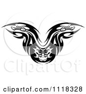 Clipart Of A Black And White Flaming Demon Motorcycle Biker Handlebars 2 Royalty Free Vector Illustration