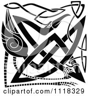 Clipart Of A Black And White Celtic Heron 2 Royalty Free Vector Illustration