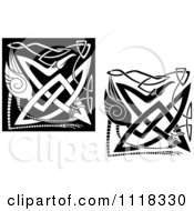 Clipart Of Black And White Celtic Herons 3 Royalty Free Vector Illustration