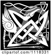 Clipart Of A Black And White Celtic Heron 1 Royalty Free Vector Illustration