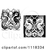 Clipart Of Black And White Celtic Herons 4 Royalty Free Vector Illustration