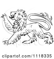 Clipart Of A Black And White Heraldic Lion Clawing Royalty Free Vector Illustration