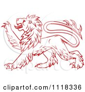 Clipart Of A Red Heraldic Lion Clawing Royalty Free Vector Illustration