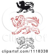 Clipart Of Heraldic Lions Clawing Royalty Free Vector Illustration