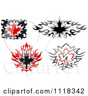 Black And Red Tribal Maple Leaves 2