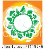 Clipart Of A Globe Frame With Trees At Sunset Royalty Free Vector Illustration by Vector Tradition SM