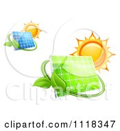 Clipart Of A Blue And Green Solar Energy Panels With Leaves And Suns Royalty Free Vector Illustration