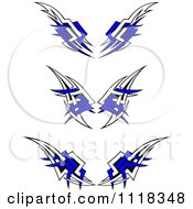Clipart Of Tribal Wings With Blue Royalty Free Vector Illustration by Vector Tradition SM