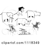 Clipart Of Black And White Sketched African Animals Royalty Free Vector Illustration by Seamartini Graphics