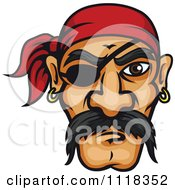Cartoon Of A Pirate Face With A Mustache Bandana And Eye Patch Royalty Free Vector Clipart