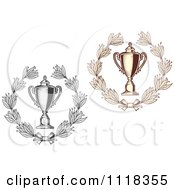 Clipart Of Sepia And Grayscale Wreaths And Trophy Cups 2 Royalty Free Vector Illustration