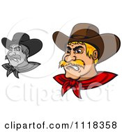 Cartoon Of Grayscale And Blond Angry Cowboys Royalty Free Vector Clipart by Vector Tradition SM