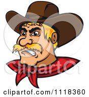 Cartoon Of A Blond Angry Cowboy Royalty Free Vector Clipart