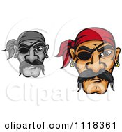 Cartoon Of Grayscale And Colored Pirate Faces With Mustaches Bandanas And Eye Patches Royalty Free Vector Clipart