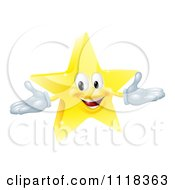 Clipart Of A 3d Star Mascot Royalty Free Vector Illustration