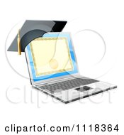 Clipart Of A 3d Diploma Or Degree On A Laptop Screen With A Graduation Cap Royalty Free Vector Illustration