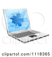 Clipart Of A 3d Laptop Computer With A Shattered Screen Royalty Free Vector Illustration
