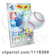 Clipart Of A 3d Baseball Flying Through And Breaking A Cell Phone Screen Royalty Free Vector Illustration by AtStockIllustration