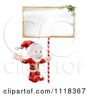 Clipart Of A Happy Santa Waving And Holding A Sign Royalty Free Vector Illustration
