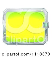 Clipart Of A Bright Metal Rimmed Futuristic Screen Or Sign Royalty Free Vector Illustration