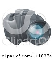Clipart Of A Modern DSLR Camera Royalty Free Vector Illustration