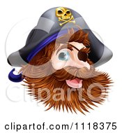 Clipart Of A Happy Pirate Captain With An Eye Patch And Beard Royalty Free Vector Illustration by AtStockIllustration