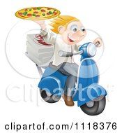 Clipart Of A Pizza Delivery Chef Holding Up A Pie On A Fast Scooter Royalty Free Vector Illustration