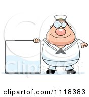 Cartoon Of A Happy Sailor With A Sign Royalty Free Vector Clipart