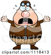 Cartoon Of A Frightened Male Aviator Pilot Royalty Free Vector Clipart