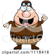 Cartoon Of A Smart Male Aviator Pilot With An Idea Royalty Free Vector Clipart by Cory Thoman