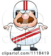 Cartoon Of A Bearded Race Car Driver Royalty Free Vector Clipart