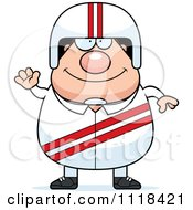 Cartoon Of A Waving Friendly Race Car Driver Royalty Free Vector Clipart