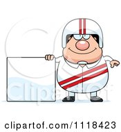 Cartoon Of A Happy Race Car Driver With A Sign Royalty Free Vector Clipart