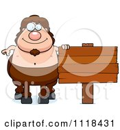 Cartoon Of A Centaur Posing By A Sign Royalty Free Vector Clipart