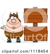 Cartoon Of A Pan Faun With Wooden Signs Royalty Free Vector Clipart by Cory Thoman